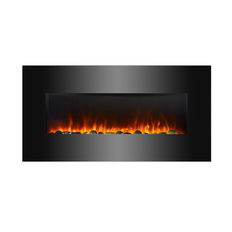 Modern Luxury Wall Mounted Pebble Stone Ventless Flame Electric Fireplace