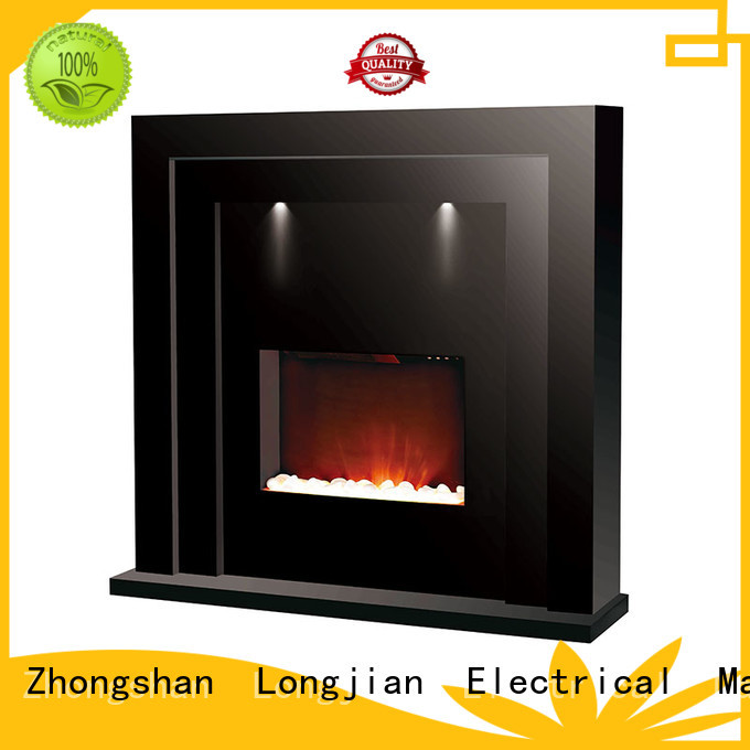 Longjian lvory electric fireplace suites freestanding package for cellar