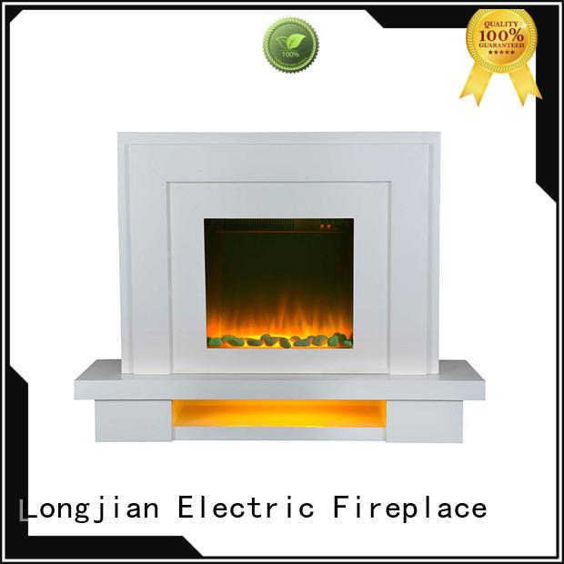 Longjian wooden electric fireplace suites China for balcony