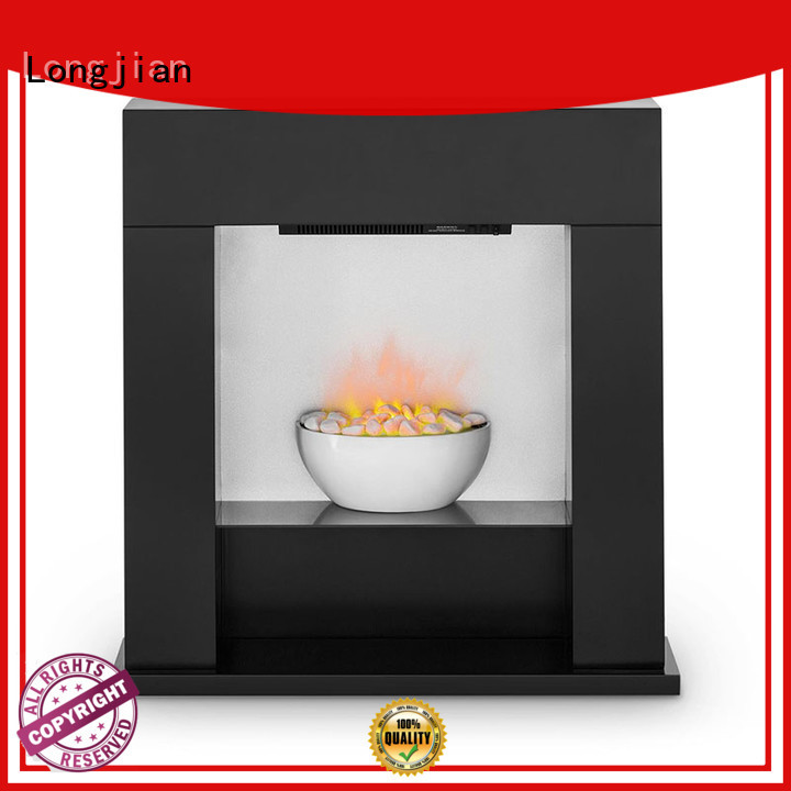 Longjian simple-style electric fireplace suites sensing for manager room