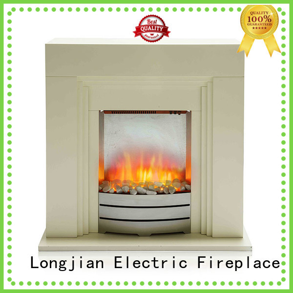 Longjian safety electric fireplace suites freestanding package for bathroom