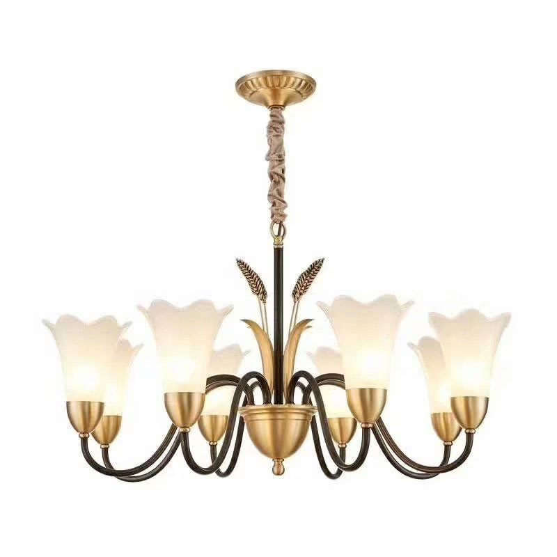 3-12 light Chandeliers Semi Flush Ceiling with etched glass shade PD1906001