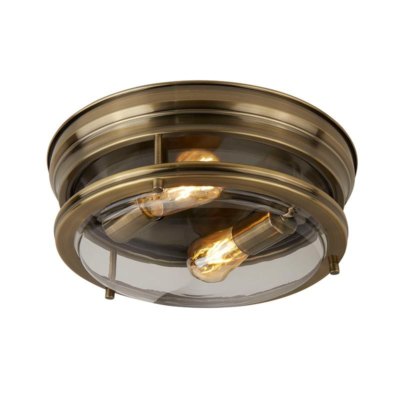 "350mm 14"" 2 light Ceiling Flush mount ip44 with Glass shade  C0009R-2"