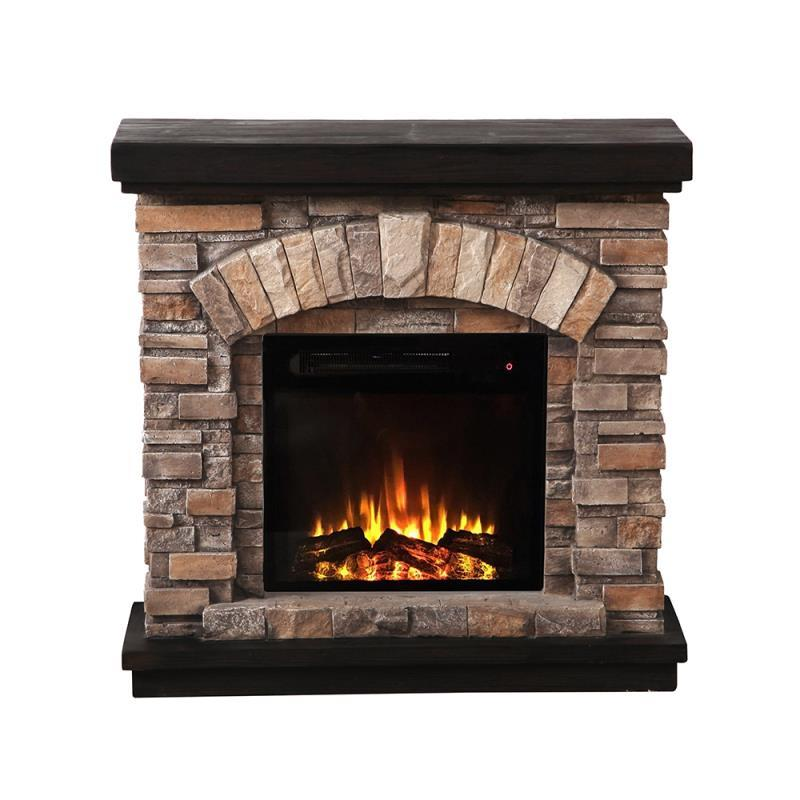 Imitation Stone Brick Wall Mantel Classic Flame Pioneer Stone Free Standing Electric Fireplace