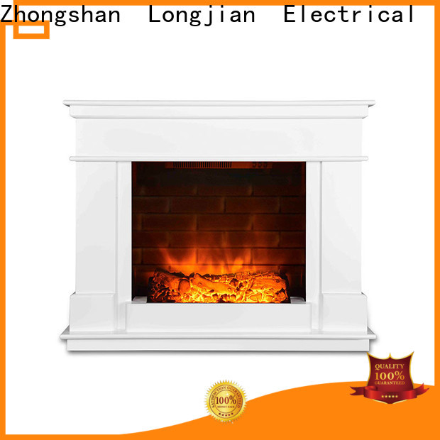 Longjian lvory electric fireplace suites freestanding sensing for attic
